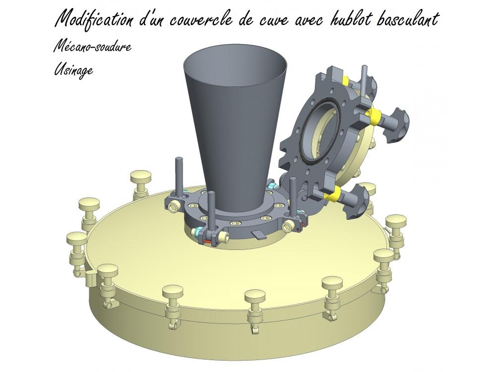 Modification d'un couvercle de cuve avec hublot basculant