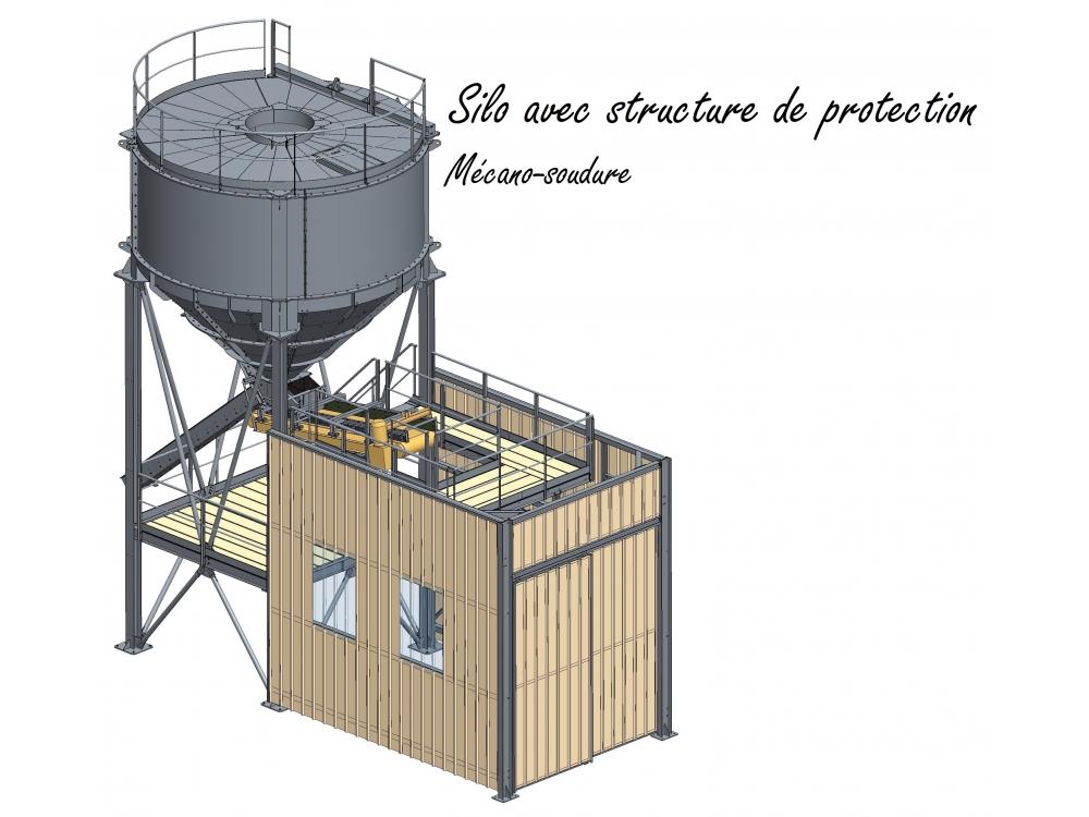 Silo avec structure de protection