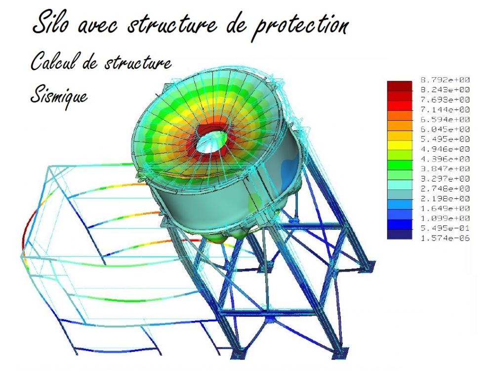Silo avec structure de protection - Calcul